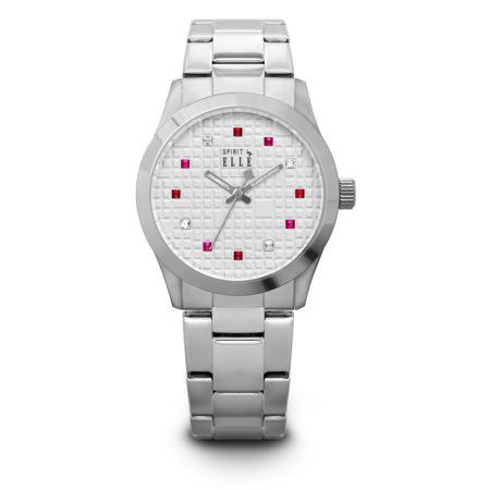 ELLE 优雅简约跳动红水晶钢带女士腕表 ES20052B03X