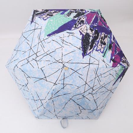 泳伶五折扁骨黑胶防晒伞防紫外线遮阳伞太阳伞折叠雨伞·,蓝色花边