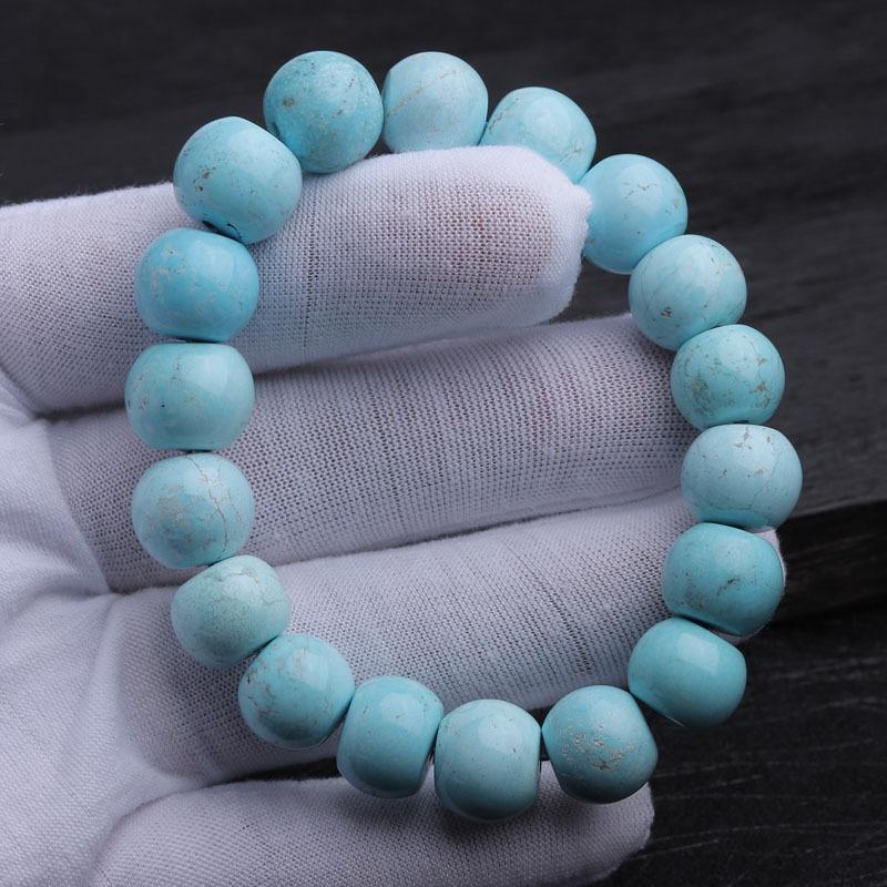 (收藏)老冯记天然原矿绿松石高瓷蓝老型珠路路通手链B