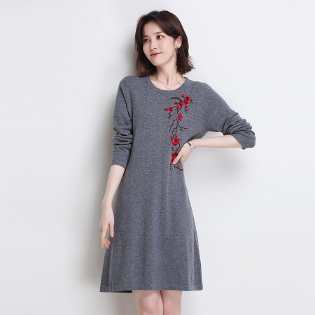 金菊 纯羊毛中长款羊毛裙---2款多色可选·灰色  灰色
