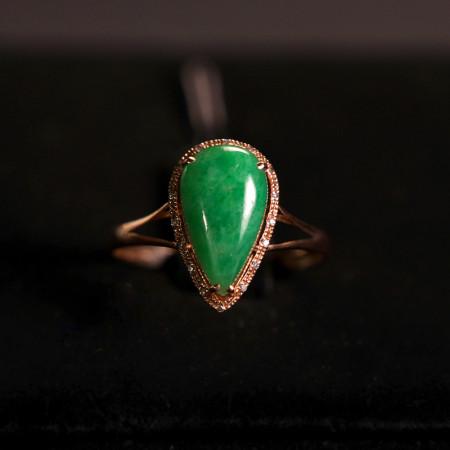 缔梵珠宝18K 金正阳绿缅甸老坑A翡翠戒指·正阳绿翡翠