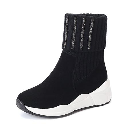 Garthphil 厚底短靴女加绒加厚保暖短筒雪地靴女L007505-4018·黑色绒里