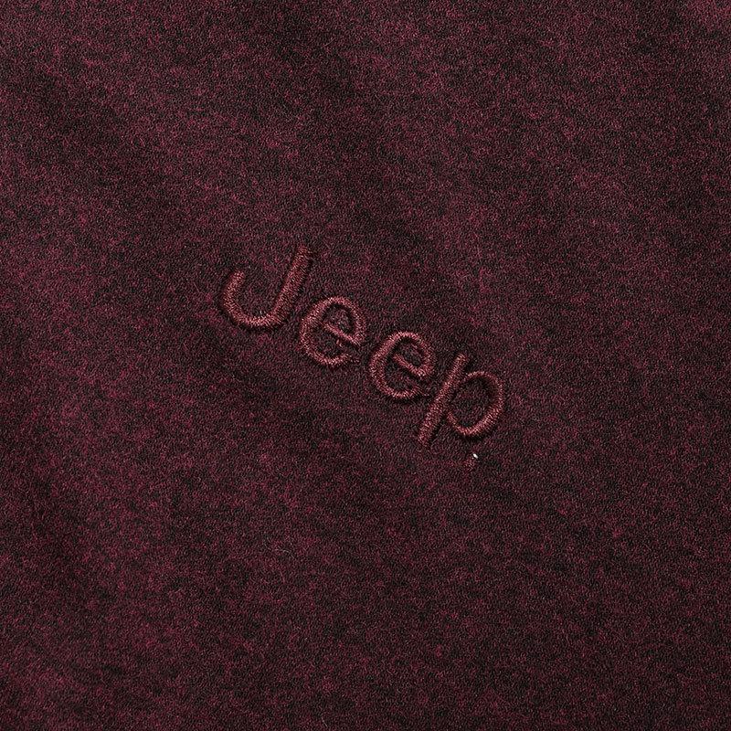 Jeep双面磨毛男士套装·酒红