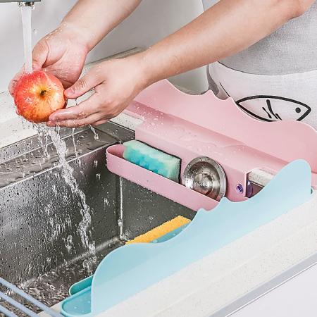 厨房水槽挡水板 收纳挡水板*2·蓝色