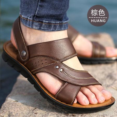 谜存 真皮透气凉拖两用舒适方便男士经典时尚大码沙滩鞋(2款可选)·12129棕色