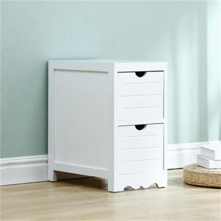 百年许氏 欧式简约现代实木储物抽屉柜-2斗·简约白色