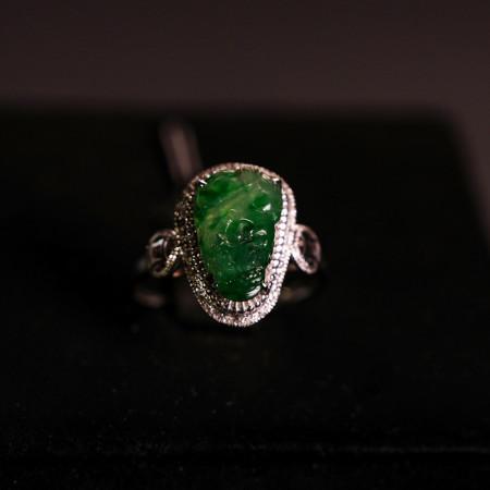缔梵珠宝 18K金正阳绿 缅甸老坑A翡翠戒指·正阳绿翡翠