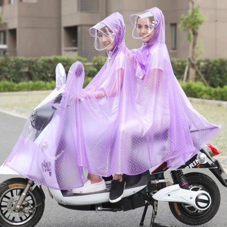 电车电瓶摩托车电动自行车母子透明雨衣成人男女雨披·薰衣紫