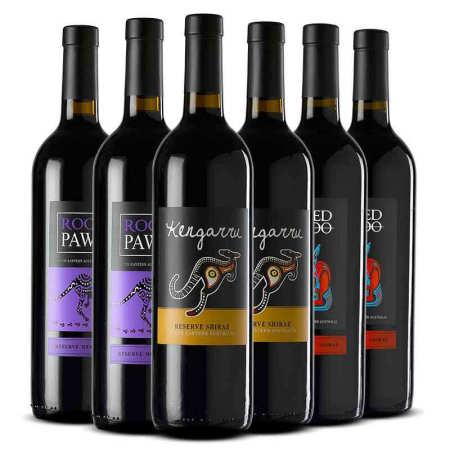 澳大利亚进口澳洲袋鼠 葡萄酒 750ml*6瓶 三种混装组合套装