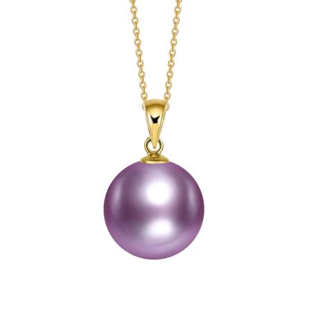 银生珍珠G18K金紫色爱迪生珍珠吊坠10-11mm     共同  共同