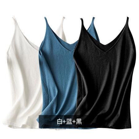 絮笈 时尚修身吊带针织衫三条装·白+蓝+黑