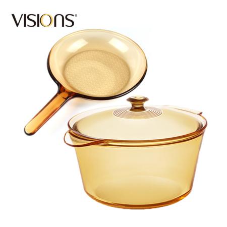 康宁 套锅两件组 双耳5.5L+单柄玻璃煎锅(vs55fl+vss9)·琥珀色
