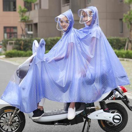 电车电瓶摩托车电动自行车母子透明雨衣成人男女雨披·宝石蓝