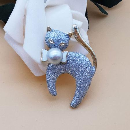 京珠部落 日本AKOYA珍珠7-8MM猫咪款胸针两款可选·蝴蝶结猫咪款