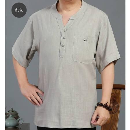 花雨夏季薄款亚麻衬衫男士加肥加大码宽松短袖·浅灰  浅灰