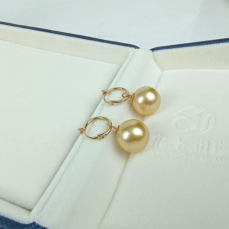 岛上明珠 南洋海水强光金珠18k金耳扣11-12mm·金色