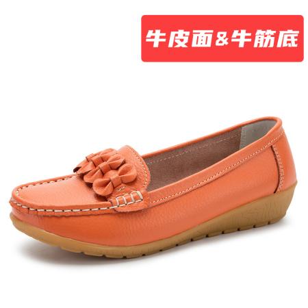 蝴蝶结 【牛皮面&牛筋底】豆豆鞋·橘色