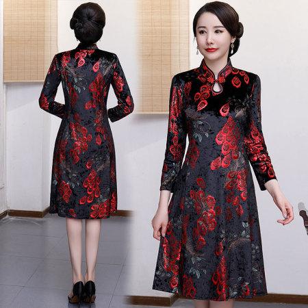 谜存 时尚新款复古高贵金丝绒改良长袖旗袍裙·5号色