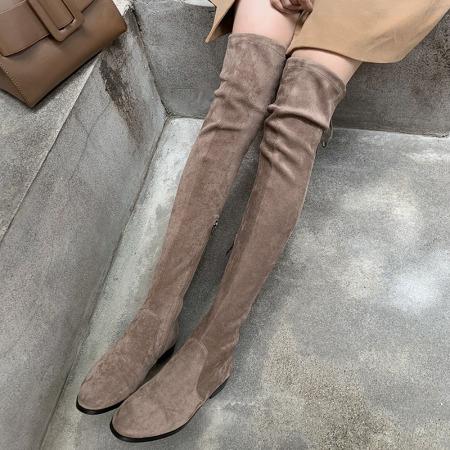 奈绮儿 绒面系带侧拉链低跟过膝长靴女靴·JL-Y911棕色