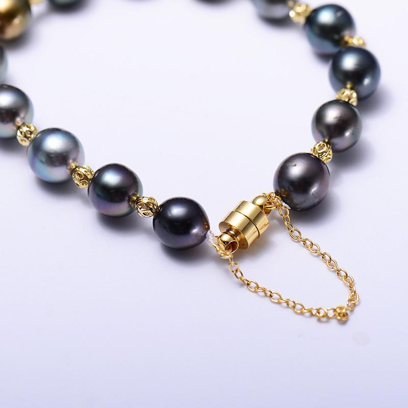 岛上明珠大溪地炫彩珍珠手链14k注金·