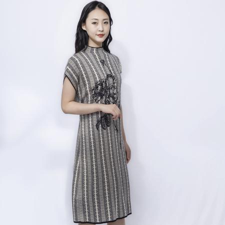 金典娜气质典雅色织提花针织衫·无袖裙