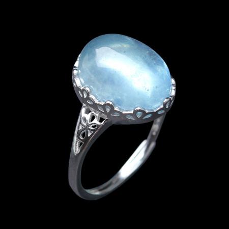 映时 S925银吉祥如意蓝宝石蛋面戒指