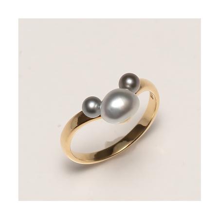 Vermeer 18K金野生无核大溪地海水珍珠戒指(J13-0351)·黑灰