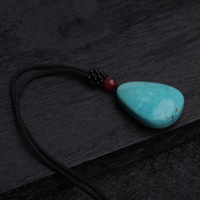 (收藏)老冯记天然原矿绿松石高瓷蓝水滴挂件C