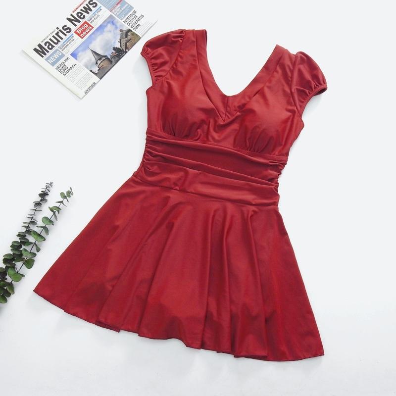 深U型后背 浪漫裙摆设计连体泳装买一送泳帽(H2917)·红色