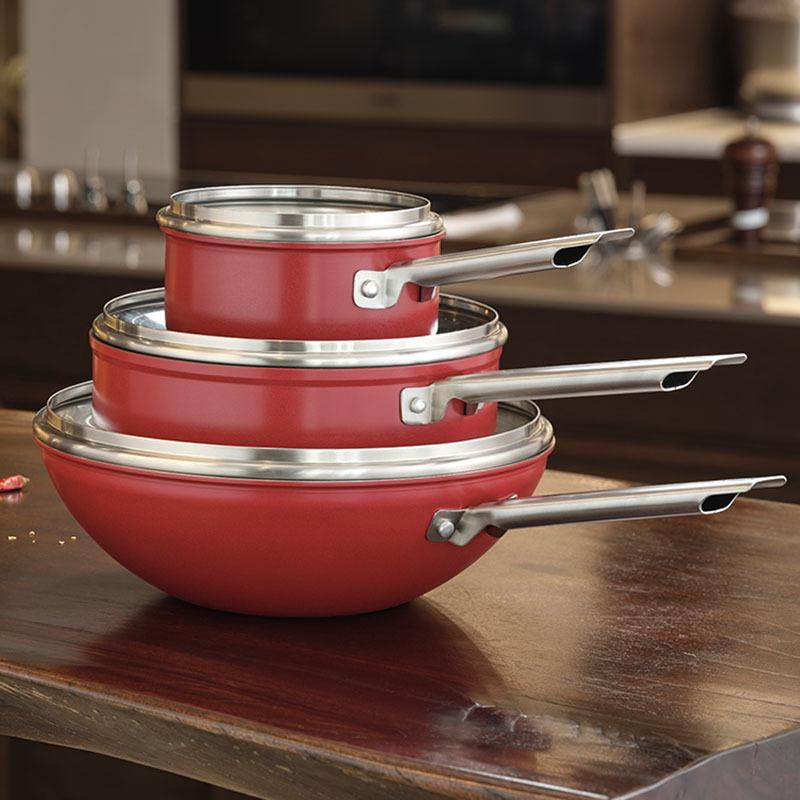 双立人炫彩中国红锅具套装