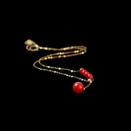 映时唯美G18K金天然红珊瑚Y字项链
