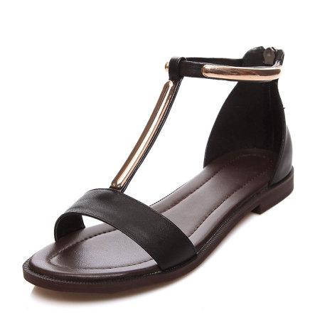 Garthphil 真皮韩版大码平底凉鞋女l008601-2883·黑色·黑色