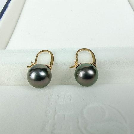 岛上明珠 大溪地海水强光炫彩黑珍珠18k金耳扣9-10mm·炫彩