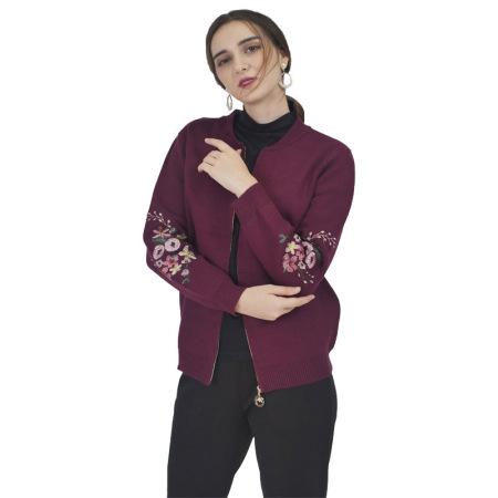 圣格伦纳棒球款针织刺绣外套·酒红色