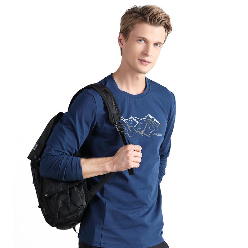 探拓 情侣款户外纯棉长袖弹力T恤81285-81286·深灰-女