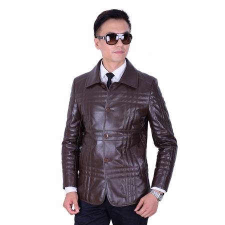 特瑞博格超柔绵羊皮 男士时尚薄款羽绒翻领皮外套_1620·棕色