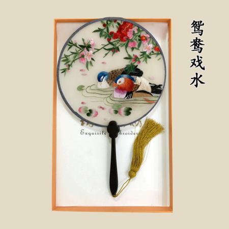 苏绣手工双面真丝刺绣团扇·鸳鸯戏水