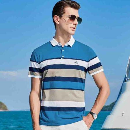 意大利富铤 2019夏季新款男士短袖拼色条纹舒适商务翻领T恤---两款4色可选·孔雀兰色