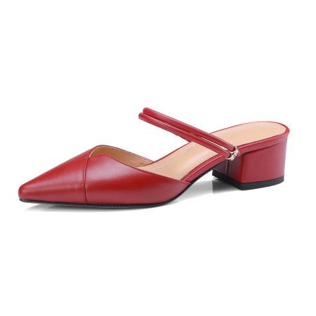 Naiyee奈绮儿 牛皮两穿凉鞋穆勒鞋粗跟低跟凉拖鞋女鞋·MK-1807-红色