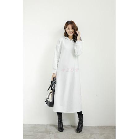 花雨连帽加绒拼接卫衣连衣裙·白色