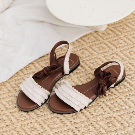 奈绮儿Naiyee 绑带系带平跟平底凉鞋女鞋·ZL-L19-1201-白色