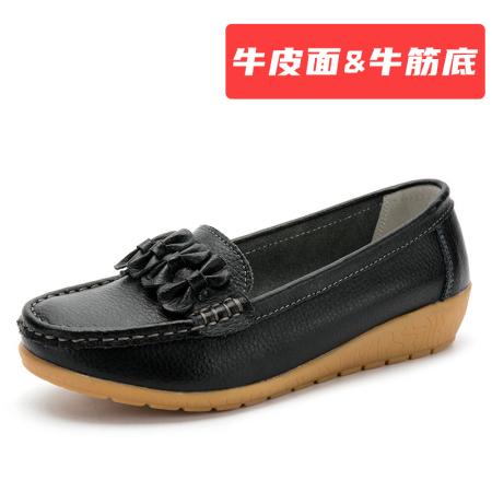 蝴蝶结 【牛皮面&牛筋底】豆豆鞋·黑色