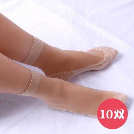 防滑棉底短筒丝袜十双组·肤色十双