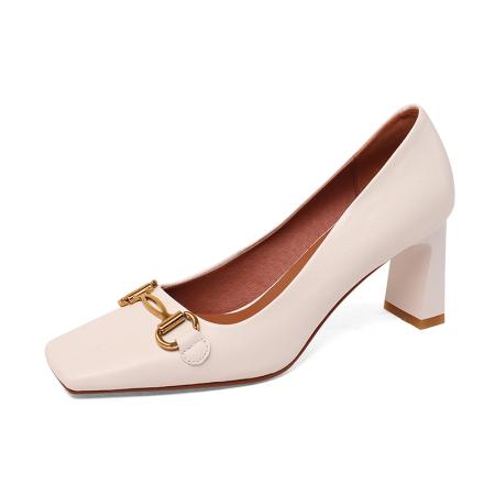 奈绮儿 牛皮复古时尚浅口高跟鞋粗跟单鞋女鞋·NQE03-A19米白色