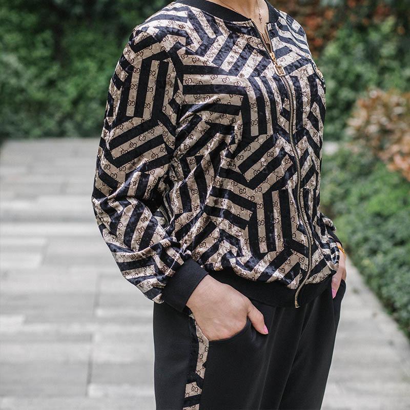 KINGFOVLVN菁夫人拉链款丝绒套装·卡其色
