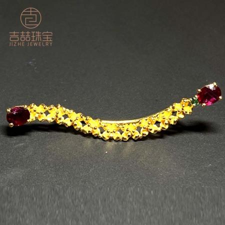 吉喆 精品18K金手工镶嵌红宝石胸针 DM033014·18K金/红宝石