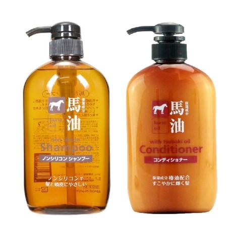 香港直邮 熊野油脂无硅马油洗发水600ml*1瓶+护发素600ml*1瓶