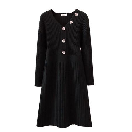 Afayedi V领长袖裙摆套头羊毛衫(三色可选)_59-6131·黑色
