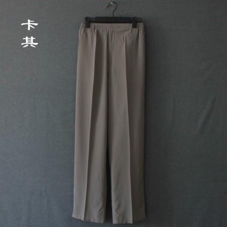 花雨休闲薄款桑蚕丝长裤---高腰深裆!松紧适中!4色可选!