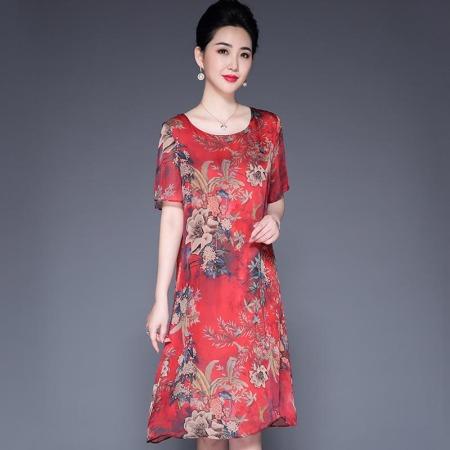 重磅真丝5A复古双绉印花连衣服·红色8153